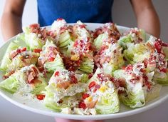 The wedge salad is such a classic, and a crowd pleaser. he wedge salad doesn't take a lot to make, you just need a these key ingredients: Iceberg lettuce cut in wedges Bacon Fresh tomatoes Blue Cheese or. Food For Thought, Wedge Salad Recipes, Do It Yourself Food, Cuisine Diverse, Clean Eating, Healthy Eating, Healthy Nutrition, Healthy Food, Good Food