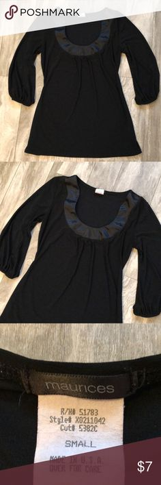 Maurice's black dress top It's small. Good used condition. Worn many times but no holes rips or stains. 3/4 sleeves. Bundle with any other item in my closet and save 20%! Maurices Tops
