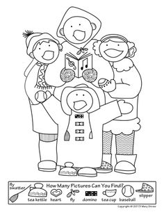 This Christmas themed Hidden Pictures is part of a five page set of activity, coloring pages.  It's the perfect pack of fun for those oh-so-excited kids!