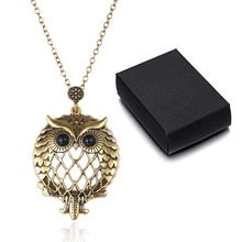 US $4.26 New Arrival Magnifier Glass Owl Pendant Necklace Antique Bronze Jewelry For Grandmother And Grandfather Gift. Aliexpress product