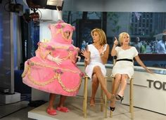 "https://flic.kr/p/abWFhi | People Hoda Kotb | In this image released by NBC, ""Today"" show personality Sara Haines, left, wears a cake costume as she delivers a singing telegram co-host Hoda Kotb, center, as co-host Kathie Lee Gifford gestures during the fourth hour of the ""Today"" show Tuesday, Aug. 9, 2011 in New York. Kotb celebrated her 47th birthday on the program. (AP Photo/NBC, Peter Kramer)"