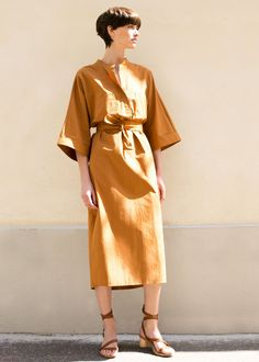 Kimono Sleeve Cognac Belted Dress – The Frankie Shop