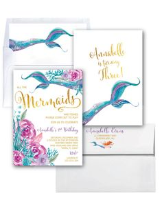 Mermaid Invitation // Under the Sea Invitation by MerrimentPress