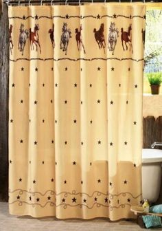 western theme bathroom decor horses shower curtain