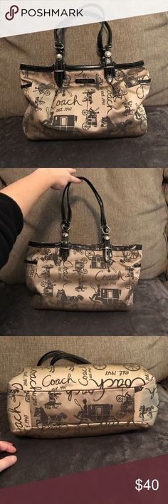 Coach Tote No flaws. Gently used. 11 across 9 tall 5 wise with 9 inch handle drop. Coach Bags