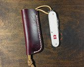 Burgundy Horween Leather Sleeve for Cadet Swiss Army Knife