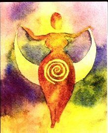 Max Dashu- Art:Spiral Goddess by M Bosch Goddess Symbols, Goddess Art, Goddess Quotes, Goddess Tattoo, Moon Goddess, Feminine Symbols, Sacred Feminine, Larp, Happy Winter Solstice