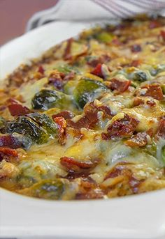 Thanksgiving side dish idea: Gratinéed brussels sprouts with prosciutto & Gruyère cheese. YUM!