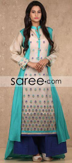 Cream and Sea Green Kora Silk Indo Western Style Suit