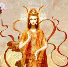 BEE PROSPERITY Fine Art Print, Goddess, Quan Yin, Honey Comb, Flowering Lily, Eco Nature Spirit, Mother. $20.00, via Etsy.
