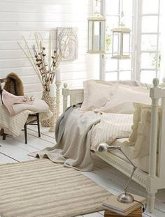 white and romantic... Add a coffee table and this will work great for a studio apartment.