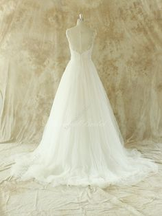 Romantic Ivory A line lace wedding dress with door MermaidBridal
