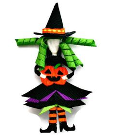 Witch ribbon sculpture hair clip or pin This wicked witch is perfect for wearing to a Halloween party. Ribbon Art, Ribbon Bows, Ribbons, Ribbon Crafts, Witch Hair, Hair Accessories Holder, Jewelry Holder, Halloween Hair Bows, Halloween Crochet