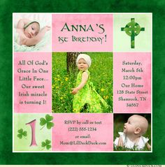 A year of blessings is celebrated on her pink Irish girl cross birthday invitation design! Double Baptism/Christening & birthday event, single occasion.