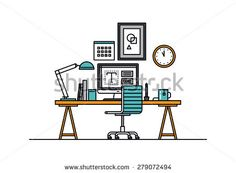 Thin line flat design of modern designer workspace with desktop computer, developer work place, artist equipment in office interior. Modern vector illustration concept, isolated on white background.