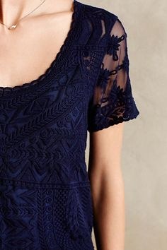 Delicate details and longish short sleeve Embroidered Mesh Tee - anthropologie.com