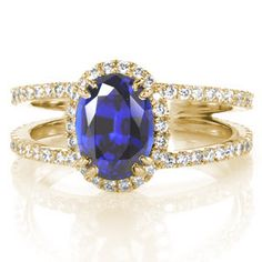 Maverick in Platinum with a 1.50 ct Oval center stone - Custom Design Rings - Rosa, split shank, sapphire