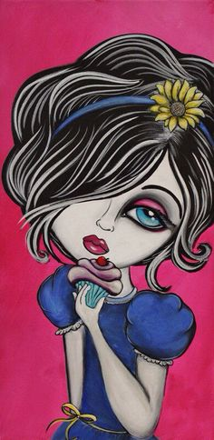 Original Painting -Girl with Cupcake- Big Eye Art by Lizzy Falcon, Lowbrow Art