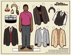Tom Haverford - Parks and Recreation - Paper Doll by Kyle Hilton Gus Fring, Charlie Kelly, Andy Dwyer, Jesse Pinkman, Leslie Knope, Walter White, Ron Swanson, John Travolta, George Michael