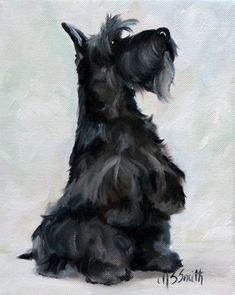 aww-black scottie scottish terrier dogs puppy art painting by mary sparrow smith from hanging the moon, home decor, gift ideas Dog Paintings, Painting Prints, Painting Abstract, Painting Art, Art Prints, Baby Dogs, Dogs And Puppies, Doggies, Pointer Puppies
