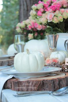 love the wood slabs #Fall #autumn #wedding White pumpkin
