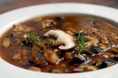 vegan: barley and shiitake mushroom soup recipe...