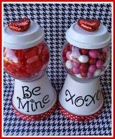 Valentine Clay Pot CANDY JARS by Marci Coombs.