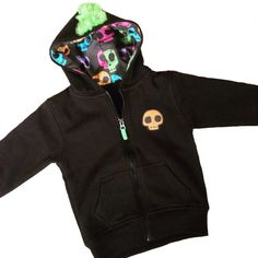 Kids & babies Colourful Skull Hoodie With Green Mohawk