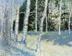 Bouleaux Valley, huile sur toile de Igor Emmanuilovich Grabar (1871-1960, Hungary)