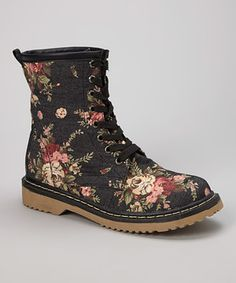 Another great find on #zulily! Black Floral Ankle Boot by Shoes of Soul #zulilyfinds