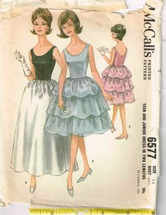 Vintage 1960s Sleeveless Party Cocktail Dress Sewing Pattern McCalls 6577 by PeoplePackages