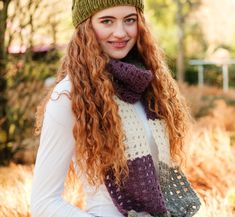 This color block crochet scarf is guaranteed to keep you warm and cozy this winter! Knitting Kits, Yarn Colors, Crochet Scarves, Diy Crochet, Double Crochet, Warm And Cozy, Mittens, Color Blocking, Irish