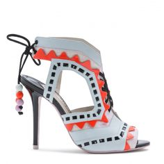 RIKO Ice blue open toe sandal with pink glitter and neon red zig zags, black woven detail and black suede laces. Butterfly Shoes, Glitter Sandals, Sophia Webster, Open Toe Sandals, Party Shoes, Luxury Shoes, Pumps, Heels, Playing Dress Up