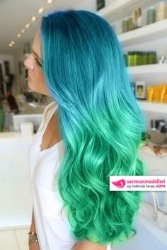 ombre mavi yeşil saç