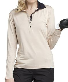 Another great find on #zulily! Bronze & Black Susan Long-Sleeve Polo by GGblue #zulilyfinds