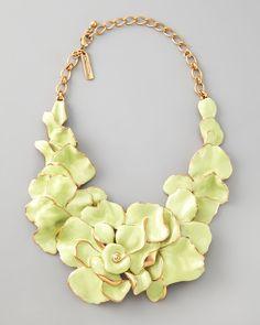 Oscar de la Renta Large Flower Collar Necklace, Peridot