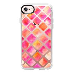 Watercolor Geometric Peach - iPhone 7 Case And Cover ($40) ❤ liked on Polyvore featuring accessories, tech accessories, iphone case, apple iphone case, clear iphone case, iphone cases and iphone cover case