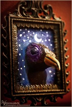 Crow in a Starry Night in brass frame by Vocisconnesse on etsy