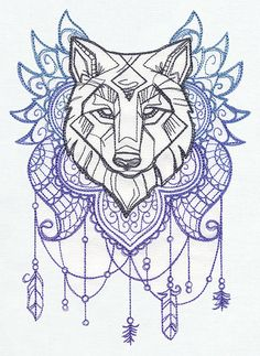 Wolf Totem Embroidered Decorative Linen by EmbroideredbySue - Love the wolf but not the background