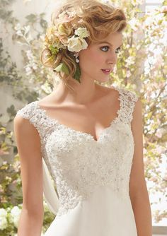 Simple A-line Straps V-neck Beading&Sequins Lace Ruching Sweep/Brush Train Chiffon Wedding Dresses