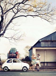 "Love this.    ""Two for the Road"" editorial featuring Melissa and Francesca Frame for Marie Claire Australia, December 2012. Shot by Corrie Bond."