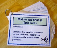 "Blog post from Science Stuff:  ""Matter and Change Task Cards.""  Provide great review and reinforcement using these ""Matter and Change"" task cards!"