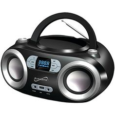 SuperSonic Portable Bluetooth Audio System, Black. Top-loading Programmable Mp3, Cd, Cd-R/RW Player. Bluetooth Streaming. Built-in USB & Aux Inputs.