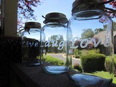 Large LIVE, LAUGH, LOVE Hand Etched Mason Jars, 1 Quart,