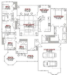 I hate the faced, but the plan is a good start -- First Floor Plan of European House Plan 78831 (back bath only open to bedroom 5 to use as guest room) House Plans One Story, Dream House Plans, Story House, House Floor Plans, One Level House Plans, The Plan, How To Plan, Victorian House Plans, Victorian Homes