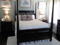 Master Bedroom, Dark mahogany furniture and colonial plank wood floors, room color is SW Celery with a candle light finish.  Accesories are ...