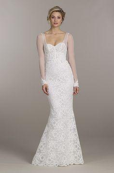Elegant lace wedding dress with illusion sleeves. Tara Keely, Spring 2015