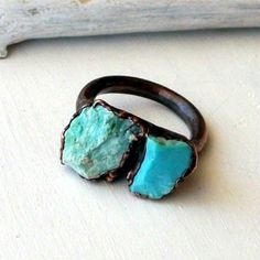 Metal Turquoise Ring - Stone - Natural- Blue