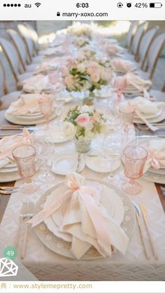Glamorous + Romantic Sonoma Summer Wedding Photographed by Allyson Wiley, this romantic wedding at Ramekins Culinary Institute had a color palette of blush, cream and ivory with bouquets of roses. Elegant Table Settings, Beautiful Table Settings, Wedding Table Settings, Place Settings, Dinner Table Settings, Pink Table Settings, Romantic Table Setting, Easter Table Settings, Wedding Tables