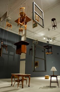 "Damian Ortega, ""Architecture Without Architects"", mixed-media installation. Courtesy of Gladstone Gallery. Theatre Design, Stage Design, Juan Sanchez Cotan, Damian Ortega, Bühnen Design, Instalation Art, Bokashi, Hanging Chair From Ceiling, Exhibition Display"